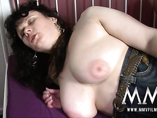 big-titted brunette with curly