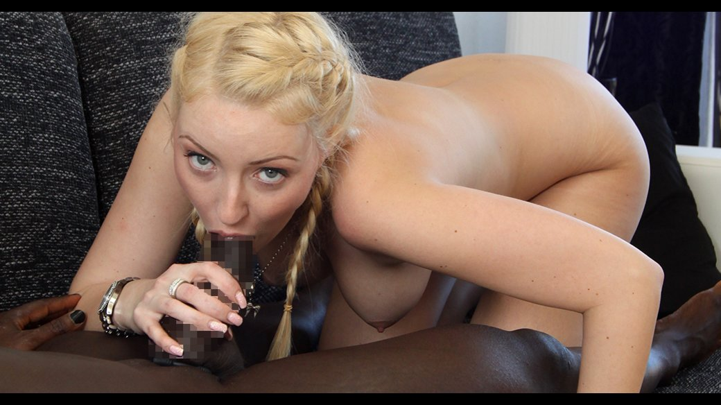 Blonde with braids blowjob