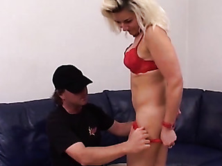 blonde's red bra and