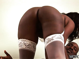 ebony bombshell white stockings