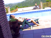 anal, high heels, latina, pool