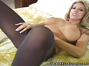 bed, pantyhose, tight, tits