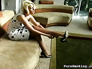 blonde smoker pantyhose can't