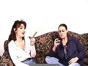 ponytailed brunette smoking cigarette