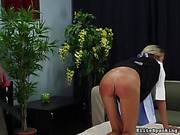 blonde, leather, pain, spanking