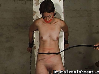 gagged short-haired brunette chains