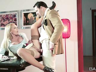 leggy blonde secretary nylons