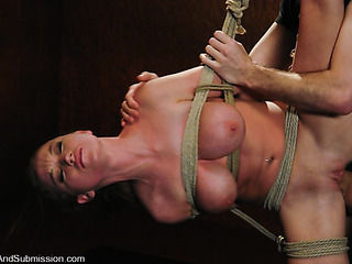 long-haired buxom gets gagged