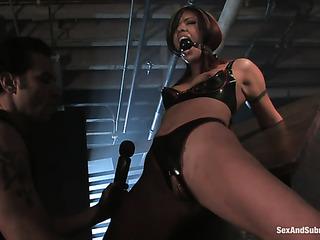 brunette doll leather lingerie