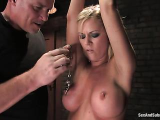 busty blonde slut gets