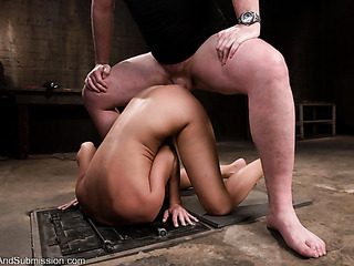 blindfolded brunette with small