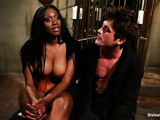 ebony mistress sitting with