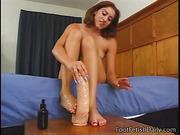 brunette, dildo, foot, footjob