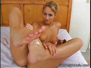 blonde, foot, oiled, vibrator