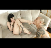 Dark haired lady is ready to get her nice feet sucked so well