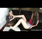 Long haired inked teen gets her feet licked and cunt drilled