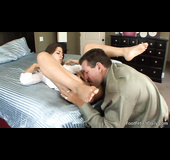 Handsome dude licks his lady's feet and bangs her