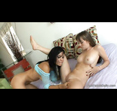 Two hot brunettes are ready for lesbo fun right now
