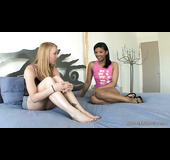 Blonde slut with nice toes gets naughty with her girlfriend