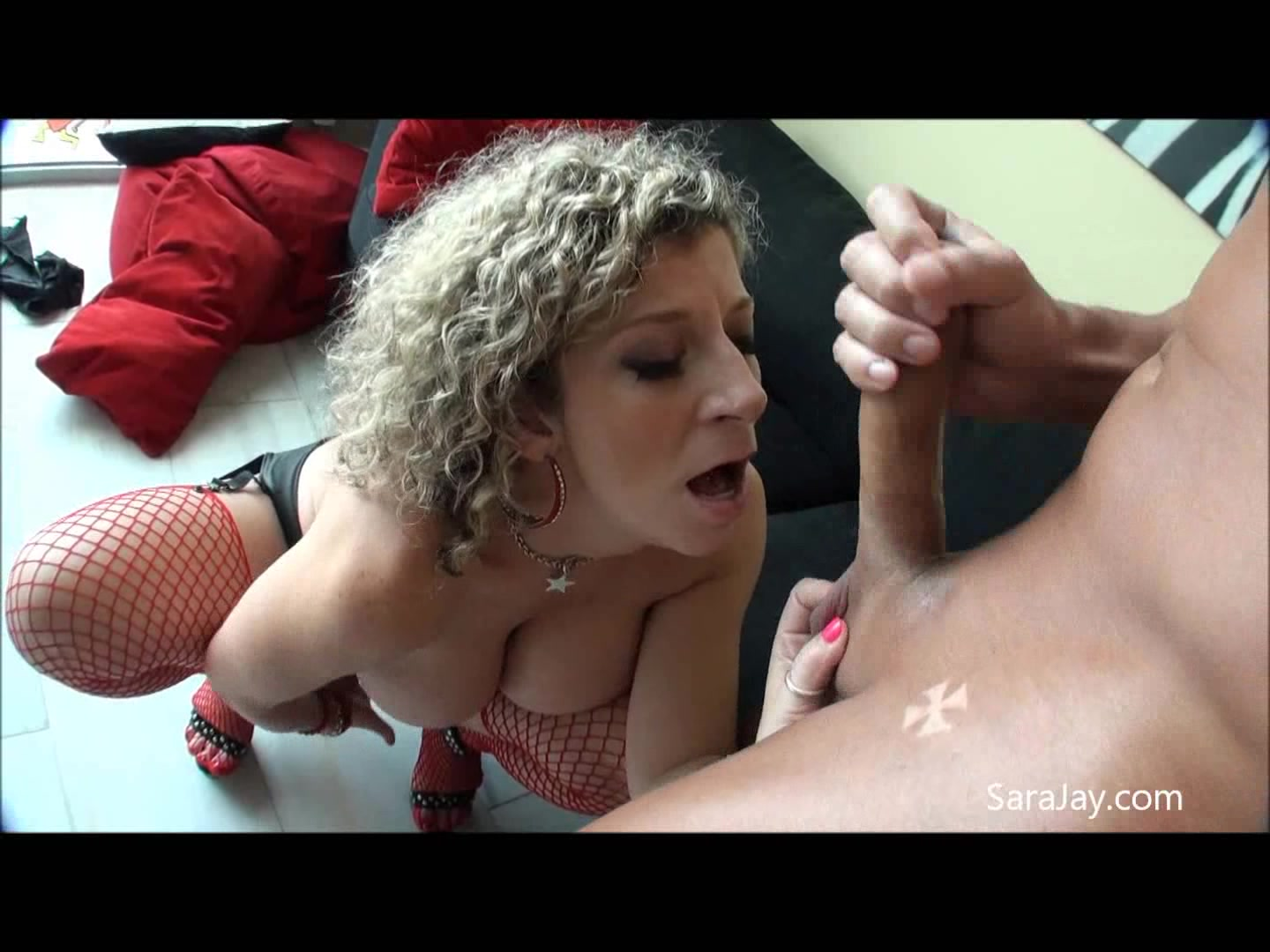 Curly Hair Stockings Porn - Busty Milf With Curly Hair Wearing Red Fishnet Stockings And Black High  Heels Gets Fucked In Different Positions On A Black Couch. - YOUX.XXX