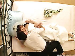 beautiful bride lays white