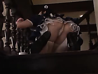 stunning asian maid bends