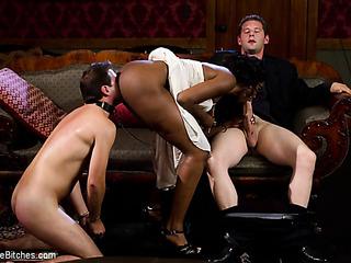 black-skinned chick forces slave