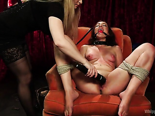 ball-gagged sub pinched with