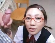 nerdy japanese babe gets