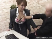 young girl climbs office