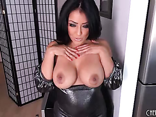 raven haired beauty gropes
