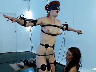 pigtailed redhead blindfold bondage