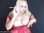 curvaceous blonde babe red