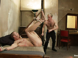 bearded gay gets bound
