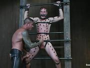 bondage, gay, máquina, polla