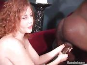 black, handjob, on her knees, redhead