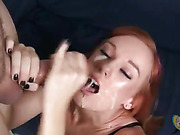 cum, handjob, redhead, tongue