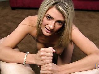 blonde teases her man