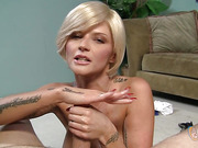 blonde, facial, handjob