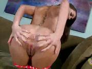 brunette, handjob, on her knees, pussy