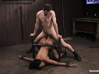 tied ebony chick gets