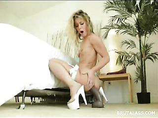 blonde takes massive dildo