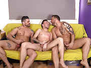 couch, fucking, gay, threesome
