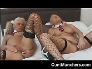 dildo, lesbian, share, stockings