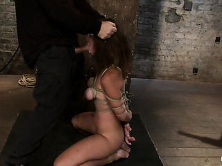 brunette slut ropes gives