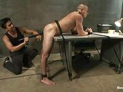 bent over, gay, tied, uniform