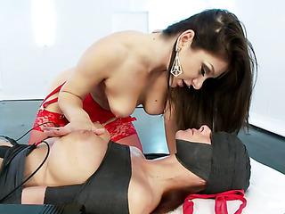 brunette mistress red lingerie