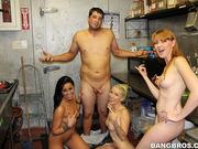 bar, group sex, pussy, restaurant