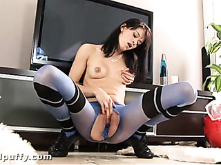 sporty brunette crotchless tights
