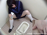 coed, japanese, pissing, toilet